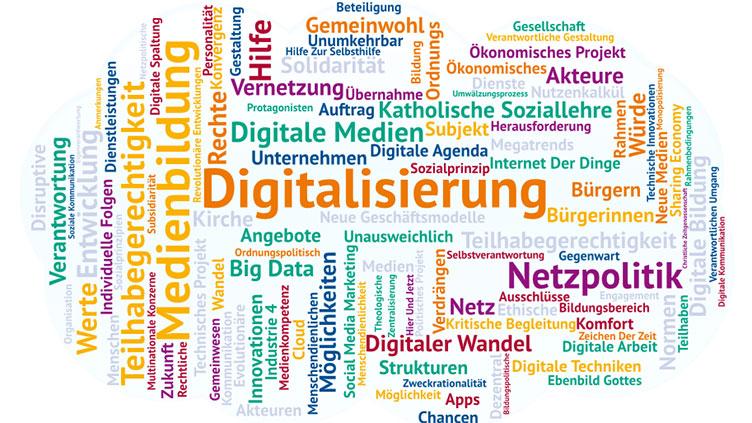 Wortwolke Digitalisierung: Symbolbild Netzpolitisches Papier