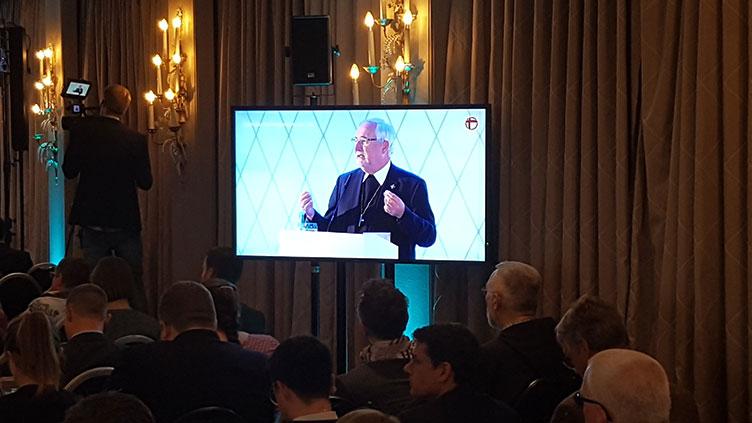 Bischof Dr. Gebhard Fürst, Vorsitzender der Publizistischen Kommission, bei seiner Eröffnungsrede beim Katholischen Medienkongress