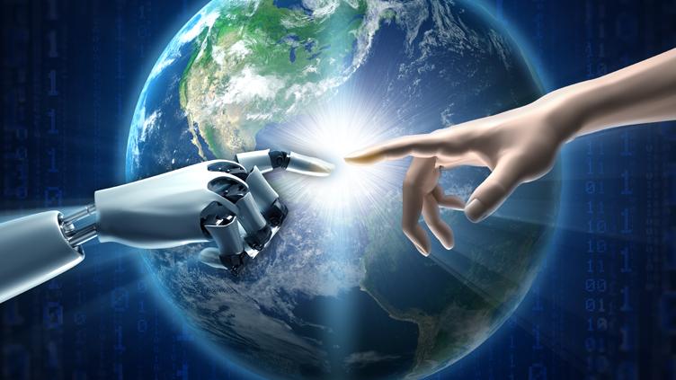 "Menschen- und Roboterhand in Anlehung an Michelangelos ""Die Erschaffung Adams"""