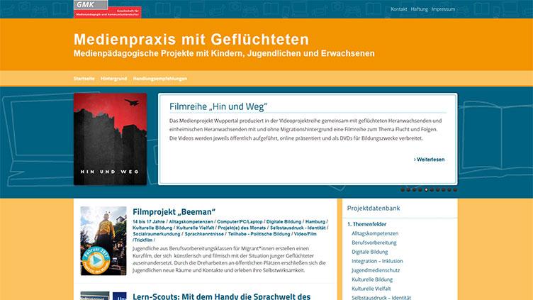 """Screenshot der Seite """"Medienpraxis mit Geflüchteten"""""""