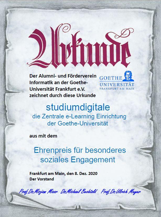Urkunde Ehrenpreis für besonderes soziales Engagement von Alumni & Förderverein Informatik